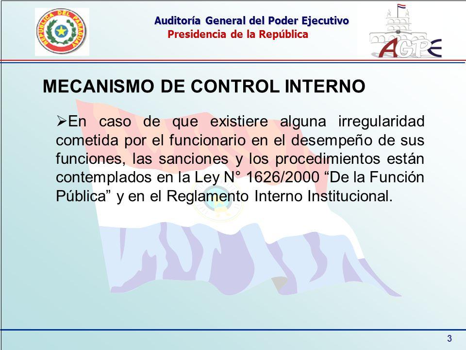 3 Auditoría General del Poder Ejecutivo Presidencia de la República MECANISMO DE CONTROL INTERNO En caso de que existiere alguna irregularidad cometid