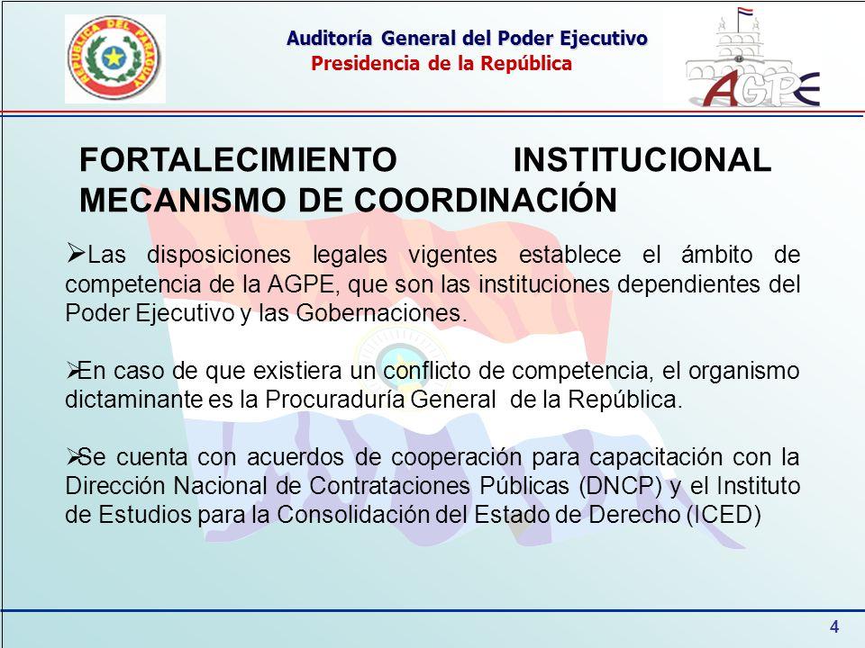 4 Auditoría General del Poder Ejecutivo Presidencia de la República FORTALECIMIENTO INSTITUCIONAL MECANISMO DE COORDINACIÓN Las disposiciones legales