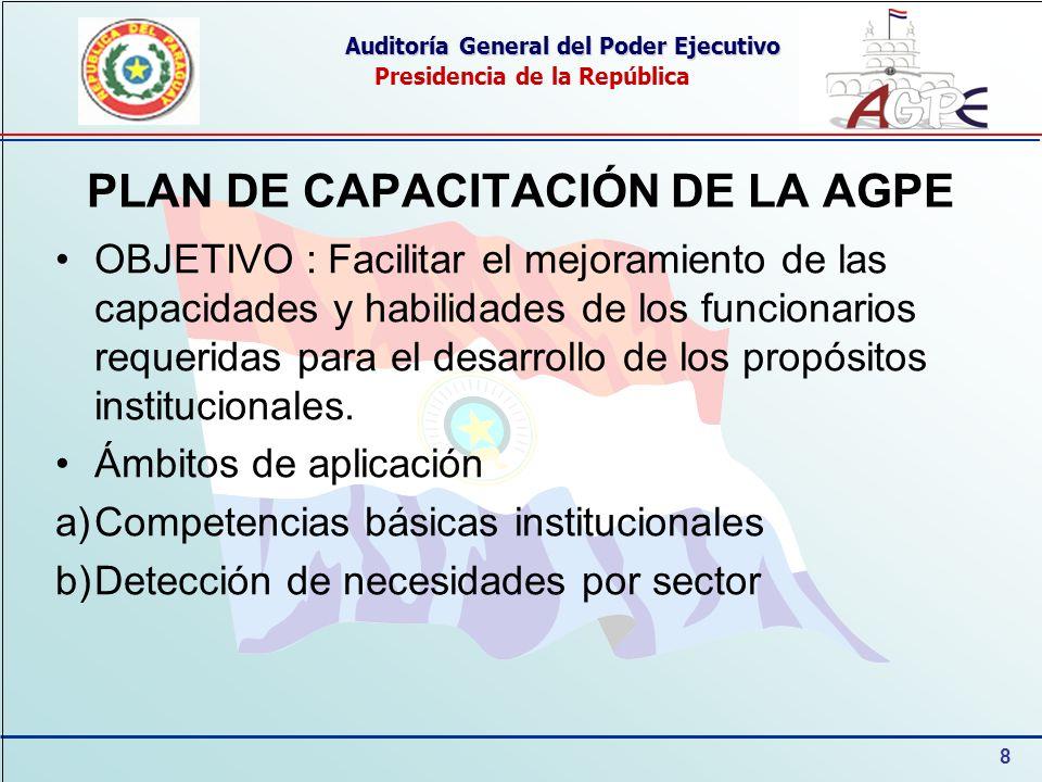 8 Auditoría General del Poder Ejecutivo Presidencia de la República PLAN DE CAPACITACIÓN DE LA AGPE OBJETIVO : Facilitar el mejoramiento de las capaci