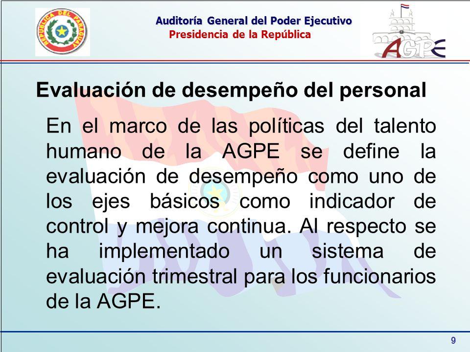 9 Auditoría General del Poder Ejecutivo Presidencia de la República Evaluación de desempeño del personal En el marco de las políticas del talento huma