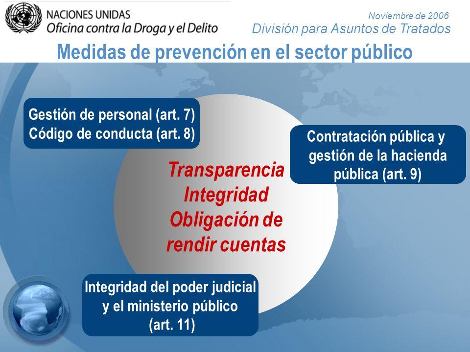 División para Asuntos de Tratados Noviembre de 2006 Medidas de prevención en el sector público Transparencia Integridad Obligación de rendir cuentas G