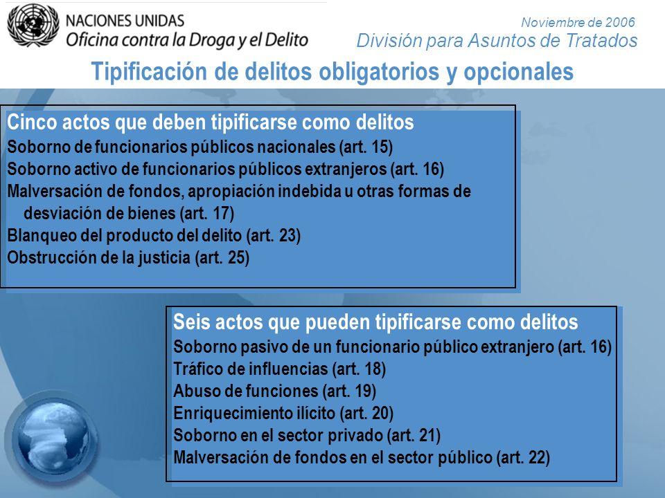 División para Asuntos de Tratados Noviembre de 2006 Seis actos que pueden tipificarse como delitos Soborno pasivo de un funcionario público extranjero