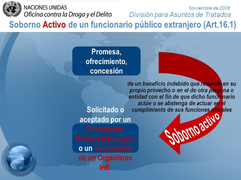 División para Asuntos de Tratados Noviembre de 2006 Soborno Activo de un funcionario público extranjero (Art.16.1) Promesa, ofrecimiento, concesión So