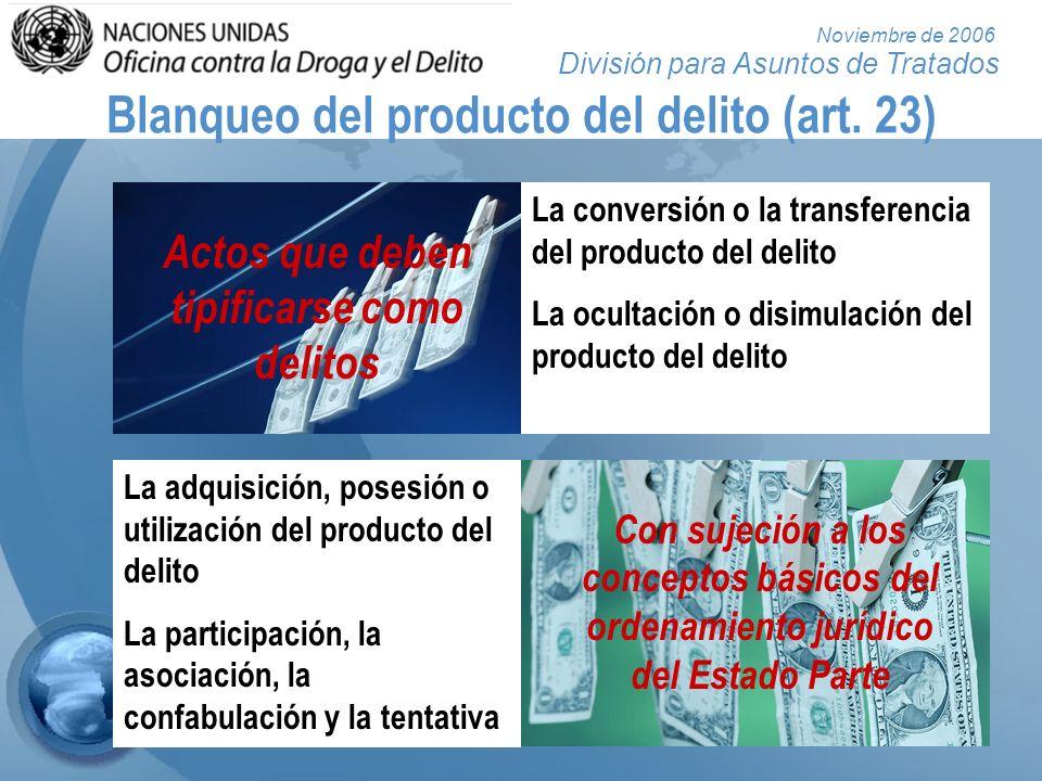 División para Asuntos de Tratados Noviembre de 2006 Blanqueo del producto del delito (art. 23) La conversión o la transferencia del producto del delit