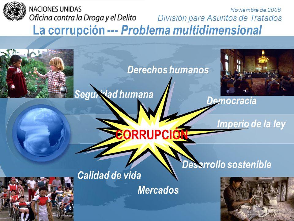 División para Asuntos de Tratados Noviembre de 2006 La corrupción --- Problema multidimensional Mercados Seguridad humana Derechos humanos Democracia