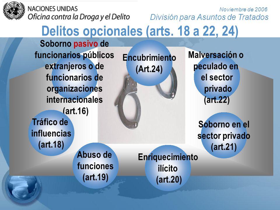 División para Asuntos de Tratados Noviembre de 2006 Delitos opcionales (arts. 18 a 22, 24) Soborno pasivo de funcionarios públicos extranjeros o de fu
