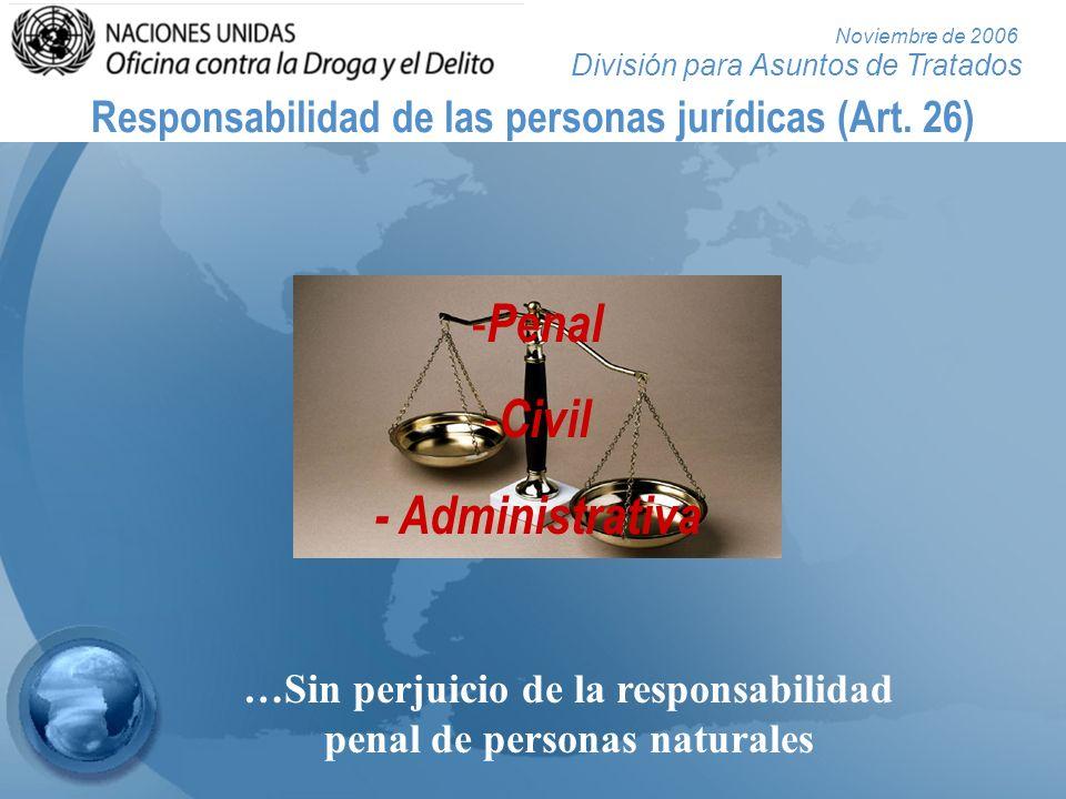 División para Asuntos de Tratados Noviembre de 2006 Responsabilidad de las personas jurídicas (Art. 26) - Penal - Civil - Administrativa …Sin perjuici