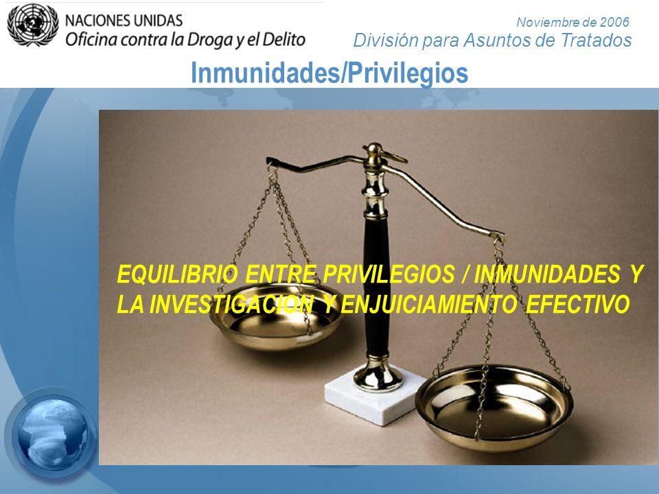División para Asuntos de Tratados Noviembre de 2006 Inmunidades/Privilegios EQUILIBRIO ENTRE PRIVILEGIOS / INMUNIDADES Y LA INVESTIGACION Y ENJUICIAMI