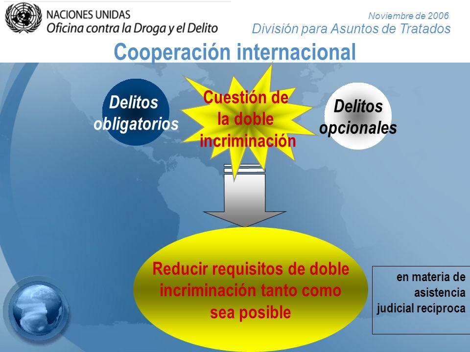 División para Asuntos de Tratados Noviembre de 2006 Cooperación internacional Delitos obligatorios Delitos opcionales Reducir requisitos de doble incr