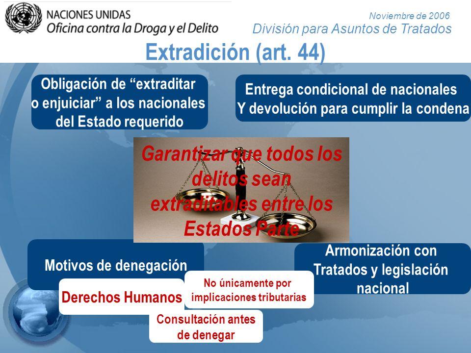 División para Asuntos de Tratados Noviembre de 2006 Extradición (art. 44) Obligación de extraditar o enjuiciar a los nacionales del Estado requerido E