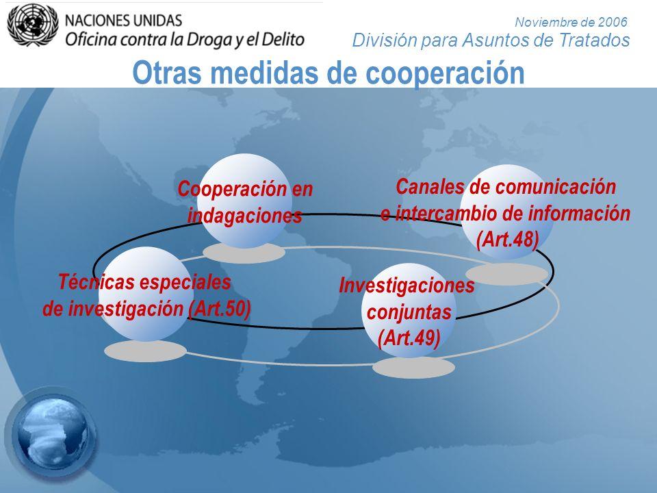 División para Asuntos de Tratados Noviembre de 2006 Otras medidas de cooperación Investigaciones conjuntas (Art.49) Técnicas especiales de investigaci