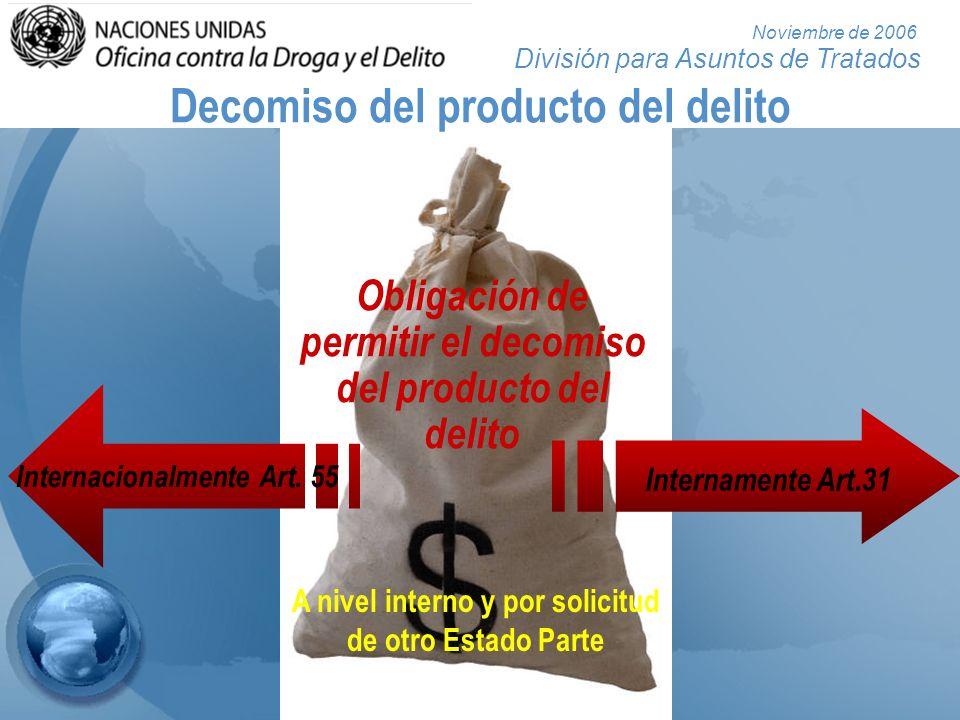 División para Asuntos de Tratados Noviembre de 2006 Obligación de permitir el decomiso del producto del delito A nivel interno y por solicitud de otro