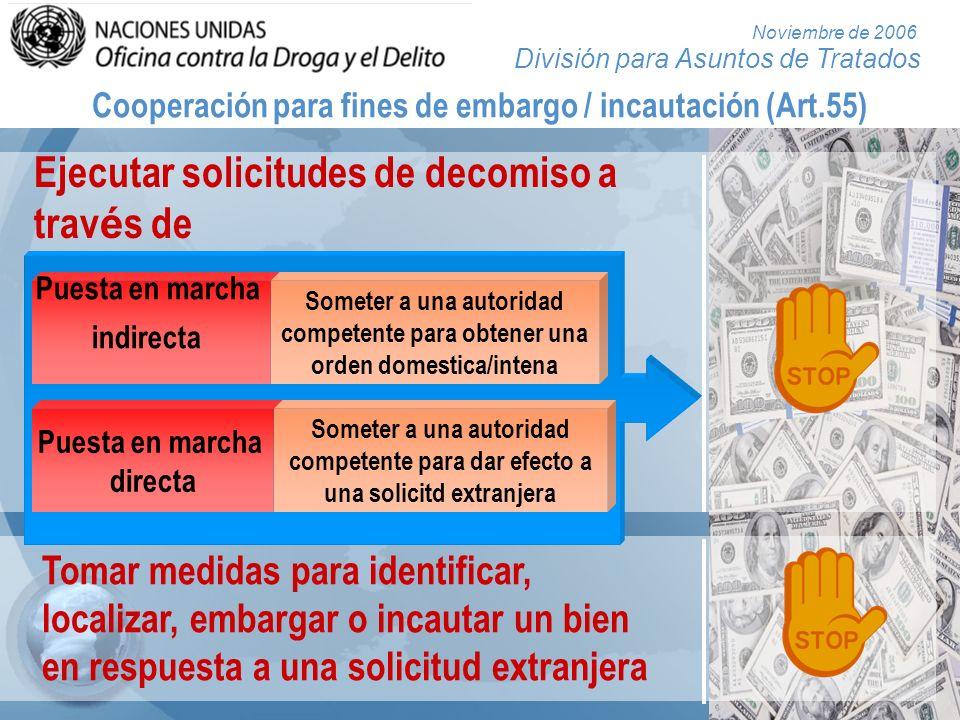 División para Asuntos de Tratados Noviembre de 2006 Cooperación para fines de embargo / incautación (Art.55) Ejecutar solicitudes de decomiso a trav é