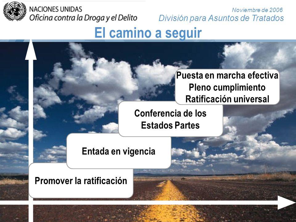División para Asuntos de Tratados Noviembre de 2006 El camino a seguir Promover la ratificación Entada en vigencia Conferencia de los Estados Partes P