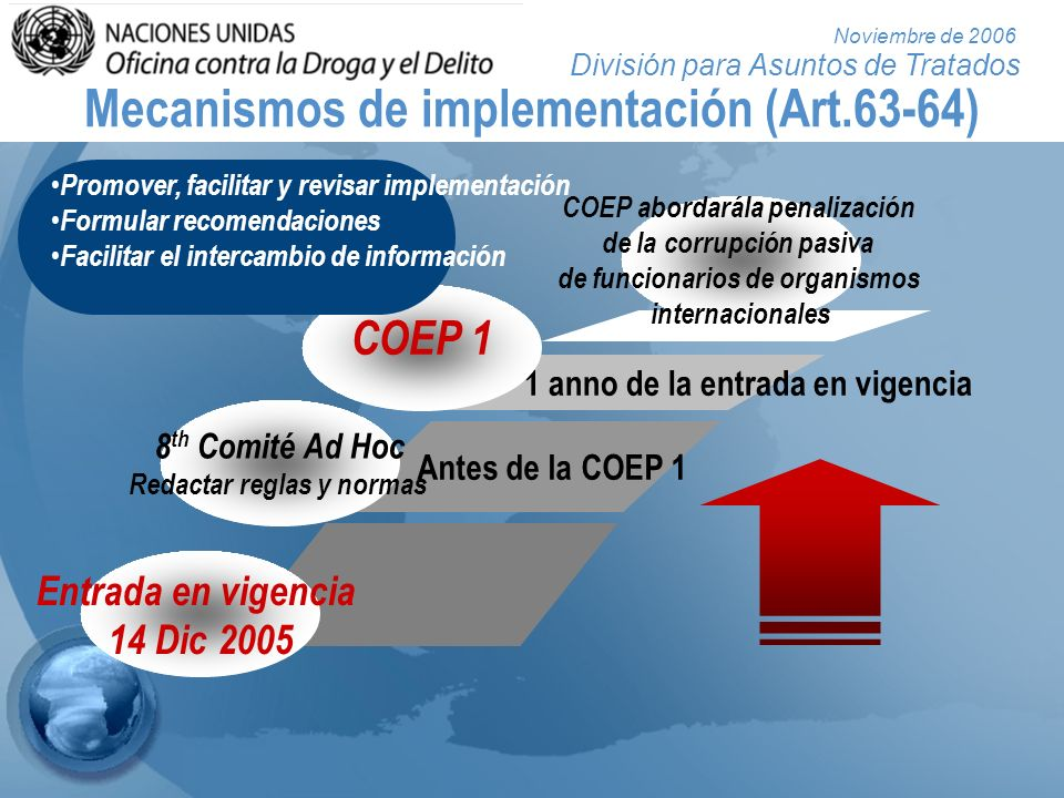 División para Asuntos de Tratados Noviembre de 2006 Mecanismos de implementación (Art.63-64) COEP abordarála penalización de la corrupción pasiva de f