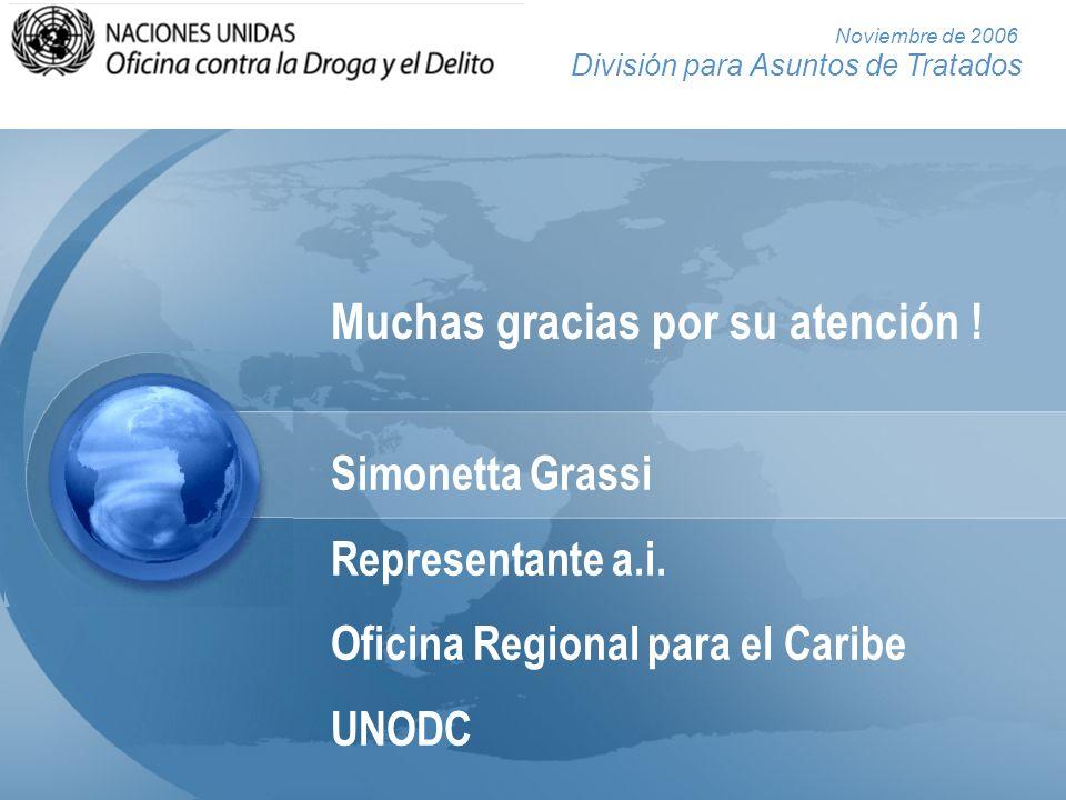 División para Asuntos de Tratados Noviembre de 2006 Muchas gracias por su atención ! Simonetta Grassi Representante a.i. Oficina Regional para el Cari