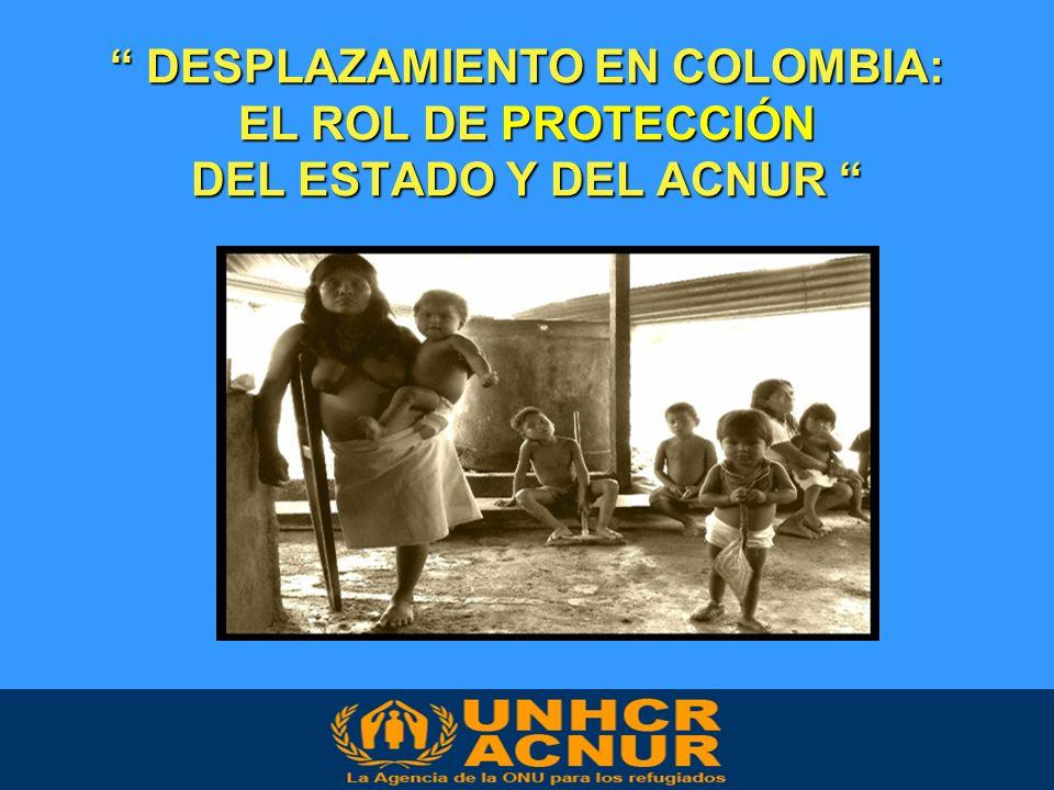 DESPLAZAMIENTO EN COLOMBIA: EL ROL DE PROTECCIÓN DEL ESTADO Y DEL ACNUR DESPLAZAMIENTO EN COLOMBIA: EL ROL DE PROTECCIÓN DEL ESTADO Y DEL ACNUR Washington, 29 de enero 2008