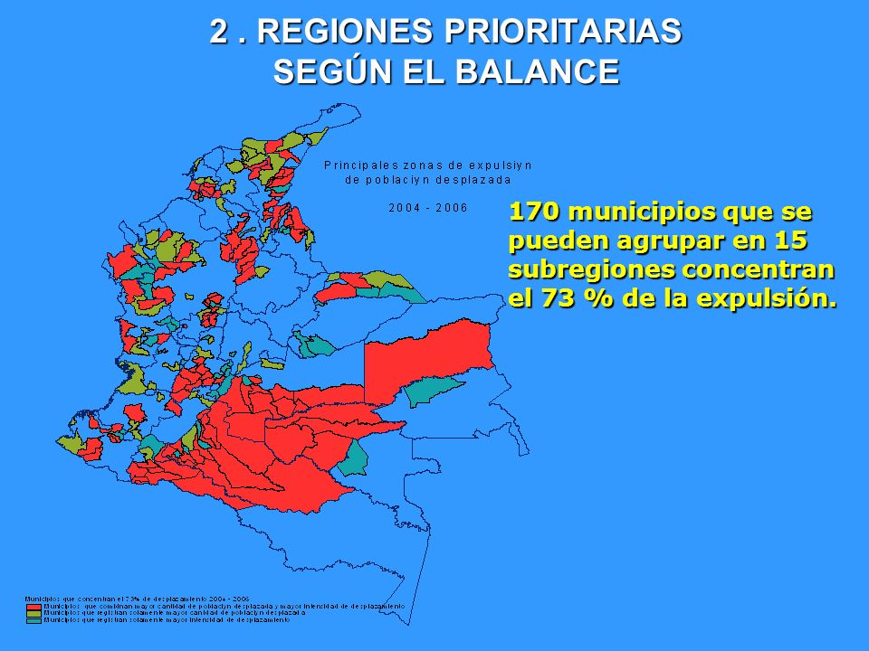 170 municipios que se pueden agrupar en 15 subregiones concentran el 73 % de la expulsión.