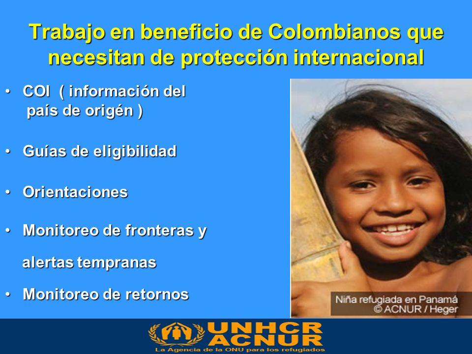 Trabajo en beneficio de Colombianos que necesitan de protección internacional COI ( información delCOI ( información del país de origén ) país de origén ) Guías de eligibilidadGuías de eligibilidad OrientacionesOrientaciones Monitoreo de fronteras yMonitoreo de fronteras y alertas tempranas alertas tempranas Monitoreo de retornosMonitoreo de retornos