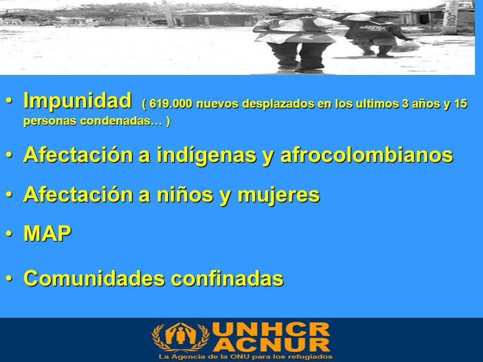 Impunidad ( 619.000 nuevos desplazados en los ultimos 3 años y 15 personas condenadas… )Impunidad ( 619.000 nuevos desplazados en los ultimos 3 años y 15 personas condenadas… ) Afectación a indígenas y afrocolombianosAfectación a indígenas y afrocolombianos Afectación a niños y mujeresAfectación a niños y mujeres MAPMAP Comunidades confinadasComunidades confinadas