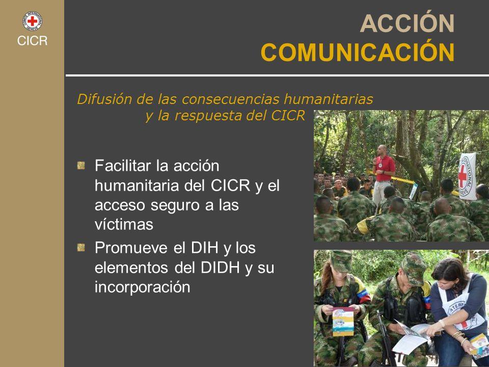 Difusión de las consecuencias humanitarias y la respuesta del CICR ACCIÓN COMUNICACIÓN Facilitar la acción humanitaria del CICR y el acceso seguro a l