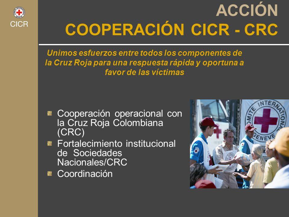 Unimos esfuerzos entre todos los componentes de la Cruz Roja para una respuesta rápida y oportuna a favor de las víctimas ACCIÓN COOPERACIÓN CICR - CR