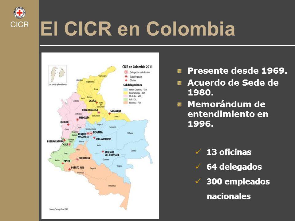El CICR en Colombia Presente desde 1969. Acuerdo de Sede de 1980. Memorándum de entendimiento en 1996. 13 oficinas 64 delegados 300 empleados nacional