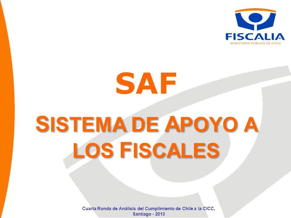 S ISTEMA DE A POYO A LOS F ISCALES SAF Cuarta Ronda de Análisis del Cumplimiento de Chile a la CICC, Santiago - 2013