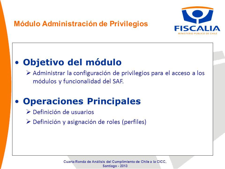 Objetivo del módulo Administrar la configuración de privilegios para el acceso a los módulos y funcionalidad del SAF. Operaciones Principales Definici