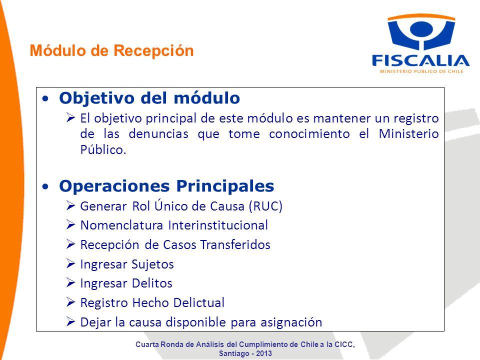 Objetivo del módulo El objetivo principal de este módulo es mantener un registro de las denuncias que tome conocimiento el Ministerio Público. Operaci