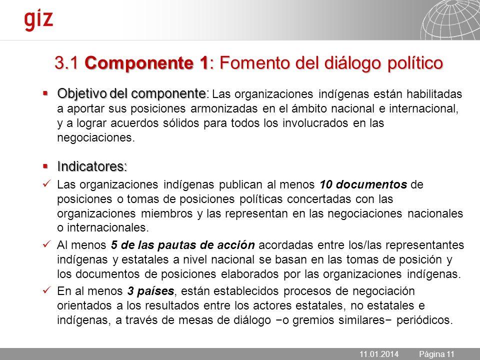 11.01.2014 Seite 11 Página 11 3.1 Componente 1: Fomento del diálogo político Objetivo del componente Objetivo del componente: Las organizaciones indíg