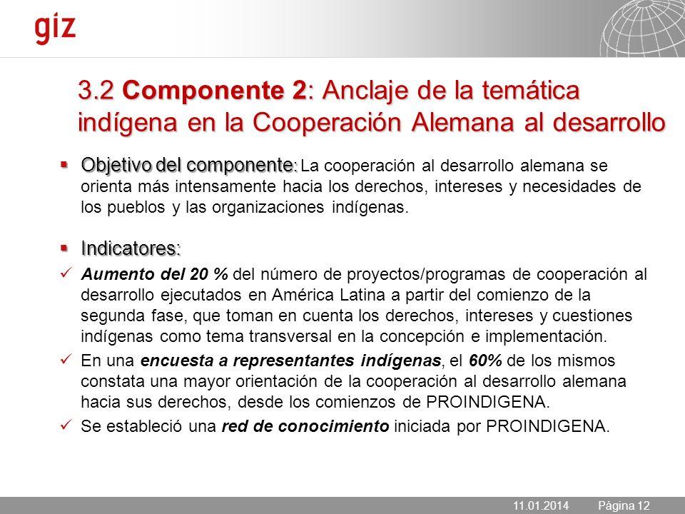 11.01.2014 Seite 12 Página 1211.01.2014 Objetivo del componente : Objetivo del componente : La cooperación al desarrollo alemana se orienta más intens