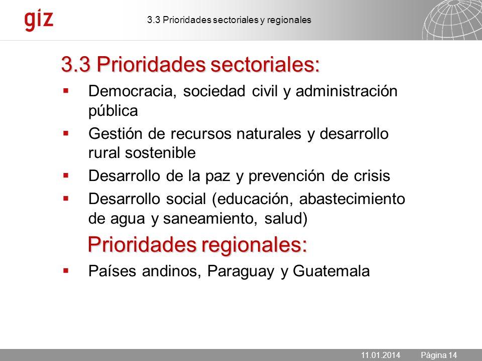 11.01.2014 Seite 14 Página 14 3.3 Prioridades sectoriales: Democracia, sociedad civil y administración pública Gestión de recursos naturales y desarro