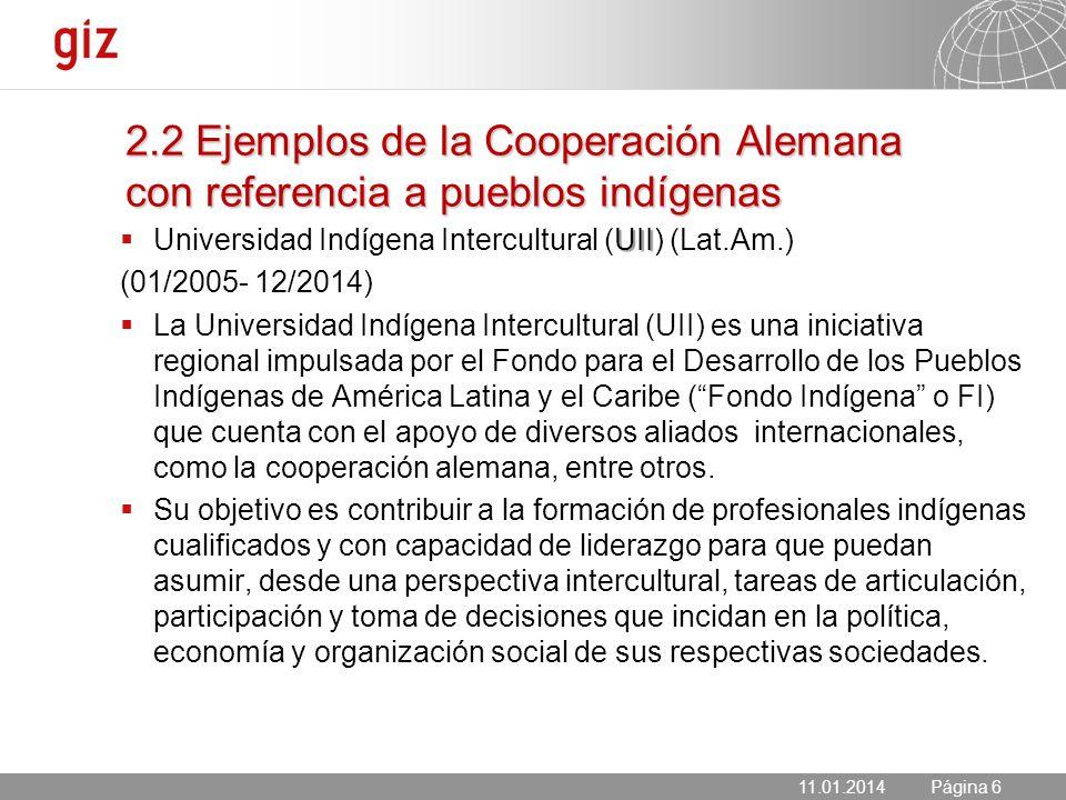 11.01.2014 Seite 6 Página 6 UII Universidad Indígena Intercultural (UII) (Lat.Am.) (01/2005- 12/2014) La Universidad Indígena Intercultural (UII) es u