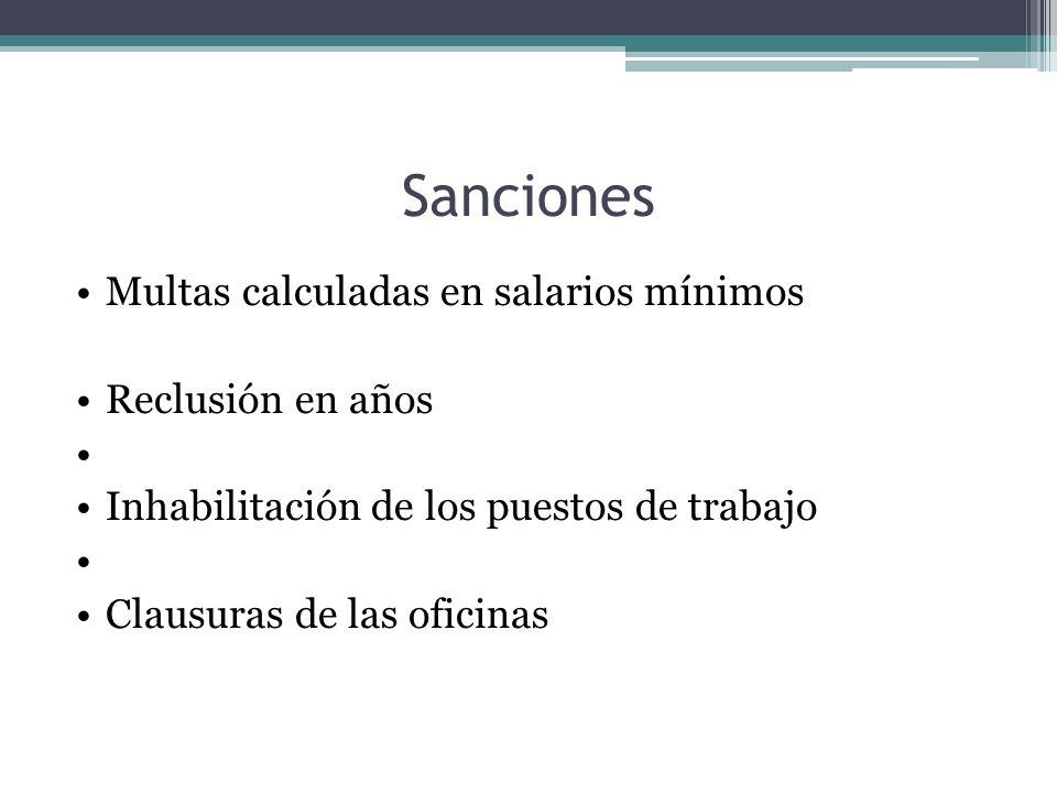 Sanciones Multas calculadas en salarios mínimos Reclusión en años Inhabilitación de los puestos de trabajo Clausuras de las oficinas