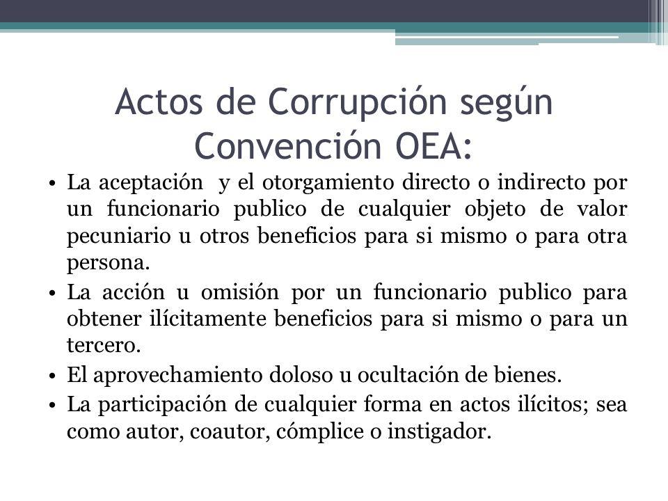Actos de Corrupción según Convención OEA: La aceptación y el otorgamiento directo o indirecto por un funcionario publico de cualquier objeto de valor