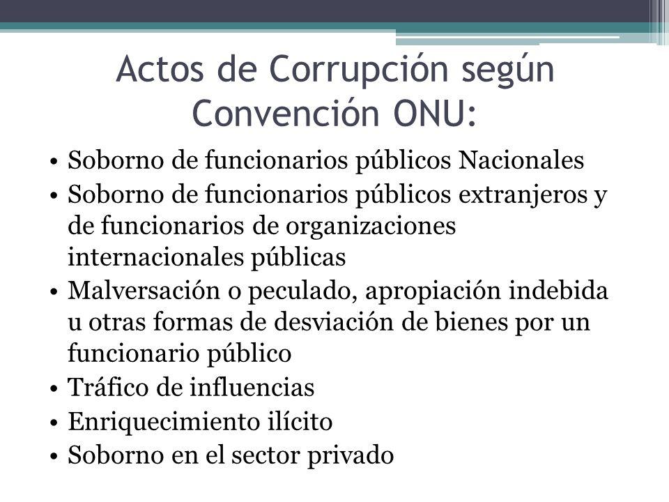 Actos de Corrupción según Convención ONU: Soborno de funcionarios públicos Nacionales Soborno de funcionarios públicos extranjeros y de funcionarios d