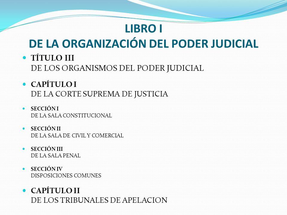 LIBRO I DE LA ORGANIZACIÓN DEL PODER JUDICIAL TÍTULO III DE LOS ORGANISMOS DEL PODER JUDICIAL CAPÍTULO I DE LA CORTE SUPREMA DE JUSTICIA SECCIÓN I DE