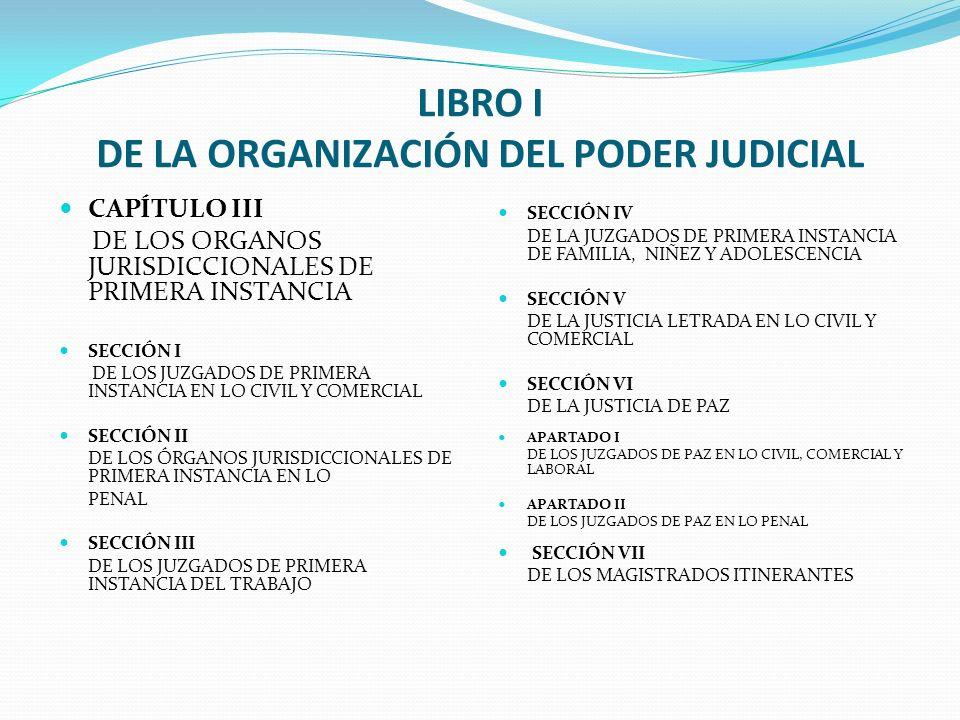 LIBRO I DE LA ORGANIZACIÓN DEL PODER JUDICIAL CAPÍTULO III DE LOS ORGANOS JURISDICCIONALES DE PRIMERA INSTANCIA SECCIÓN I DE LOS JUZGADOS DE PRIMERA I