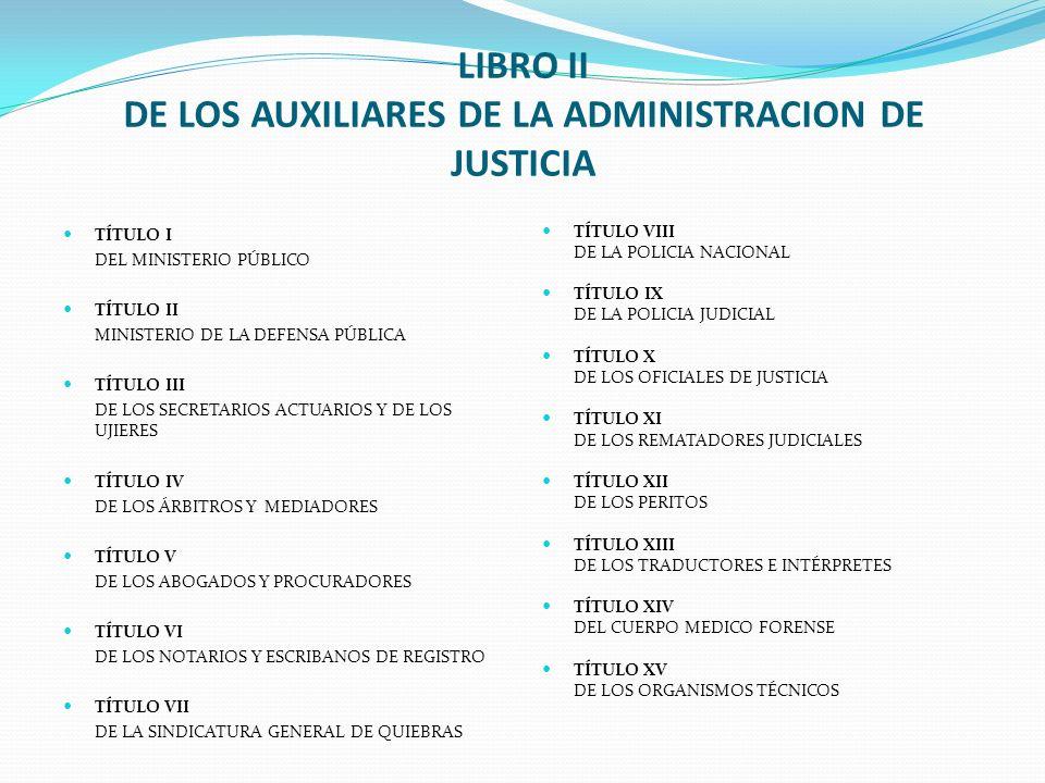 LIBRO II DE LOS AUXILIARES DE LA ADMINISTRACION DE JUSTICIA TÍTULO I DEL MINISTERIO PÚBLICO TÍTULO II MINISTERIO DE LA DEFENSA PÚBLICA TÍTULO III DE L