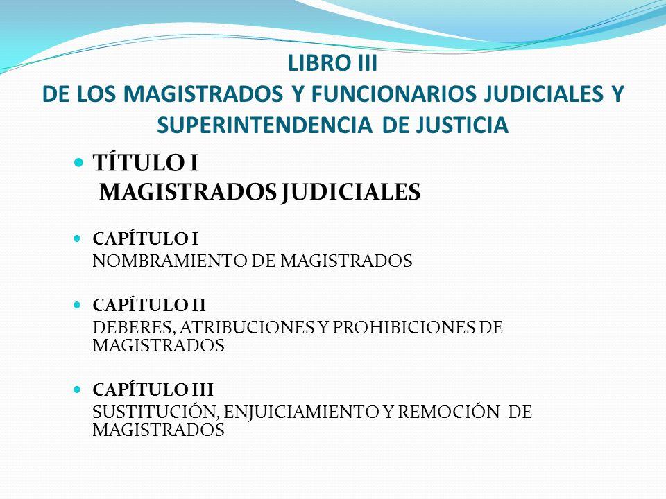 LIBRO III DE LOS MAGISTRADOS Y FUNCIONARIOS JUDICIALES Y SUPERINTENDENCIA DE JUSTICIA TÍTULO I MAGISTRADOS JUDICIALES CAPÍTULO I NOMBRAMIENTO DE MAGIS