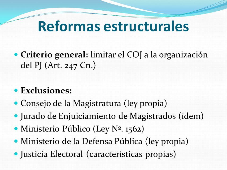 Reformas estructurales Criterio general: limitar el COJ a la organización del PJ (Art. 247 Cn.) Exclusiones: Consejo de la Magistratura (ley propia) J