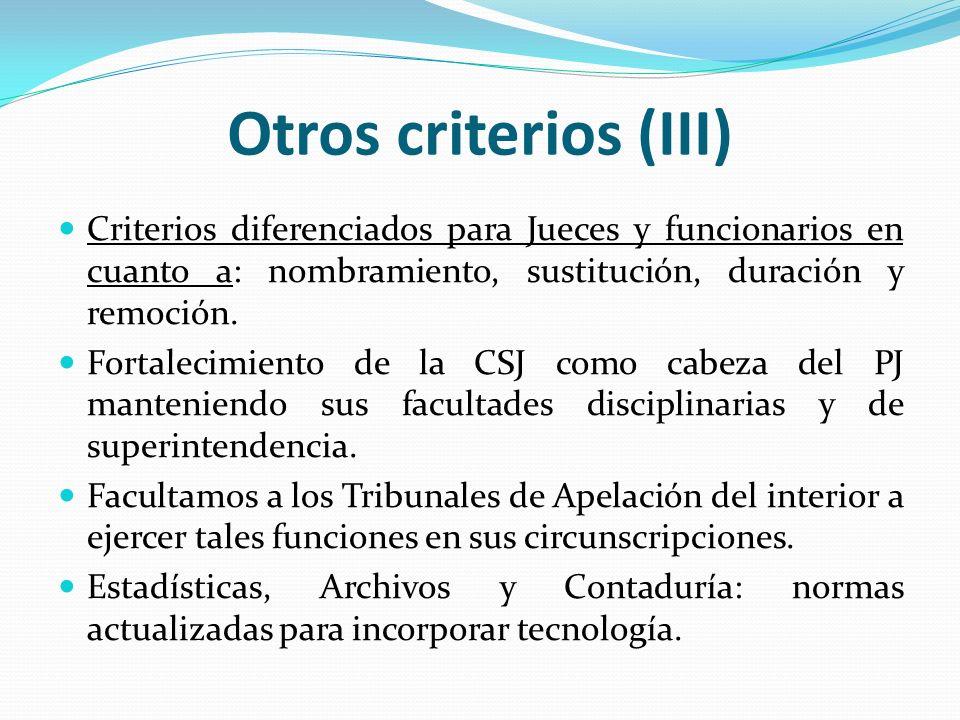 Otros criterios (III) Criterios diferenciados para Jueces y funcionarios en cuanto a: nombramiento, sustitución, duración y remoción. Fortalecimiento