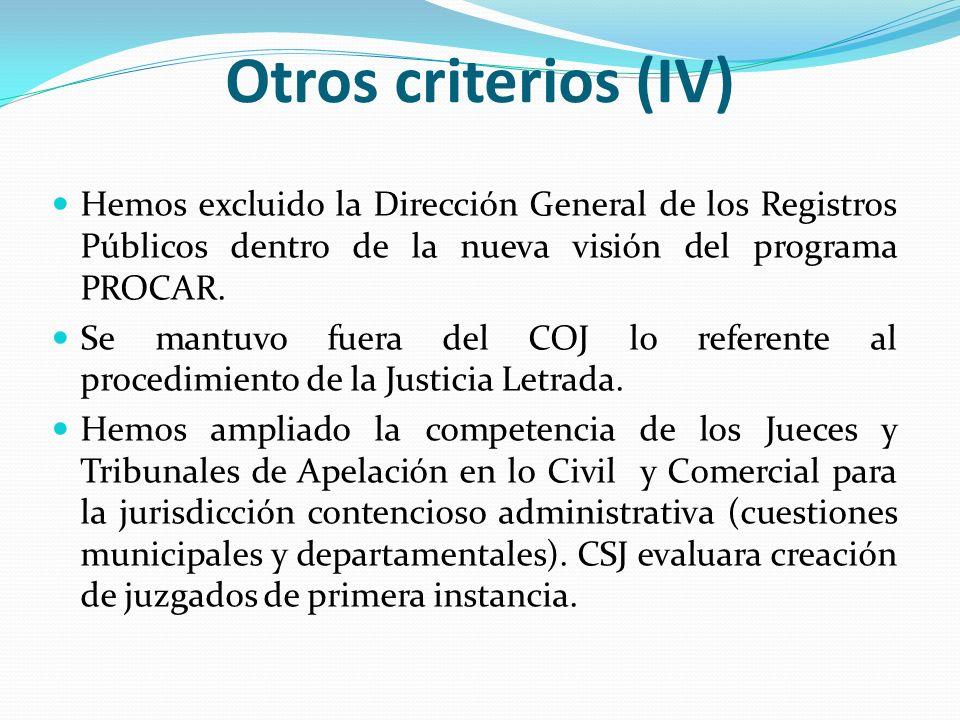 Otros criterios (IV) Hemos excluido la Dirección General de los Registros Públicos dentro de la nueva visión del programa PROCAR. Se mantuvo fuera del