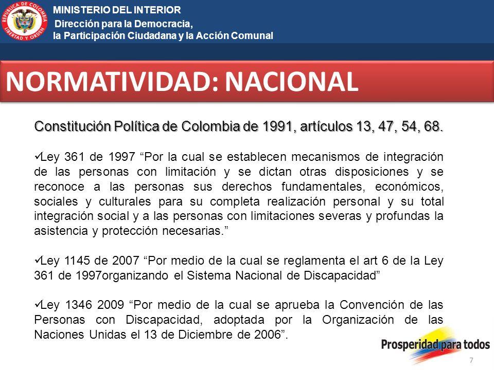 Ministerio del Interior y de Justicia Elecciones Territoriales 2011 7 MINISTERIO DEL INTERIOR Dirección para la Democracia, la Participación Ciudadana y la Acción Comunal NORMATIVIDAD: NACIONAL Constitución Política de Colombia de 1991, artículos 13, 47, 54, 68.