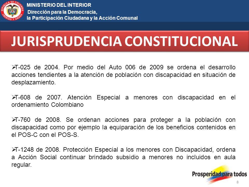 Ministerio del Interior y de Justicia Elecciones Territoriales 2011 8 MINISTERIO DEL INTERIOR Dirección para la Democracia, la Participación Ciudadana y la Acción Comunal JURISPRUDENCIA CONSTITUCIONAL T-025 de 2004.