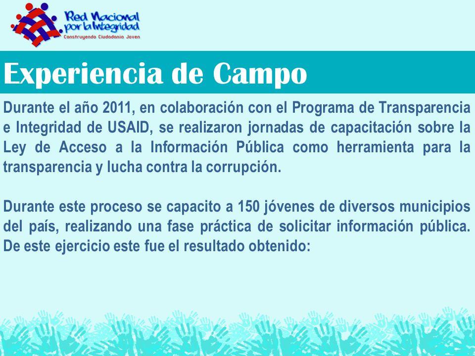 Experiencia de Campo Durante el año 2011, en colaboración con el Programa de Transparencia e Integridad de USAID, se realizaron jornadas de capacitación sobre la Ley de Acceso a la Información Pública como herramienta para la transparencia y lucha contra la corrupción.