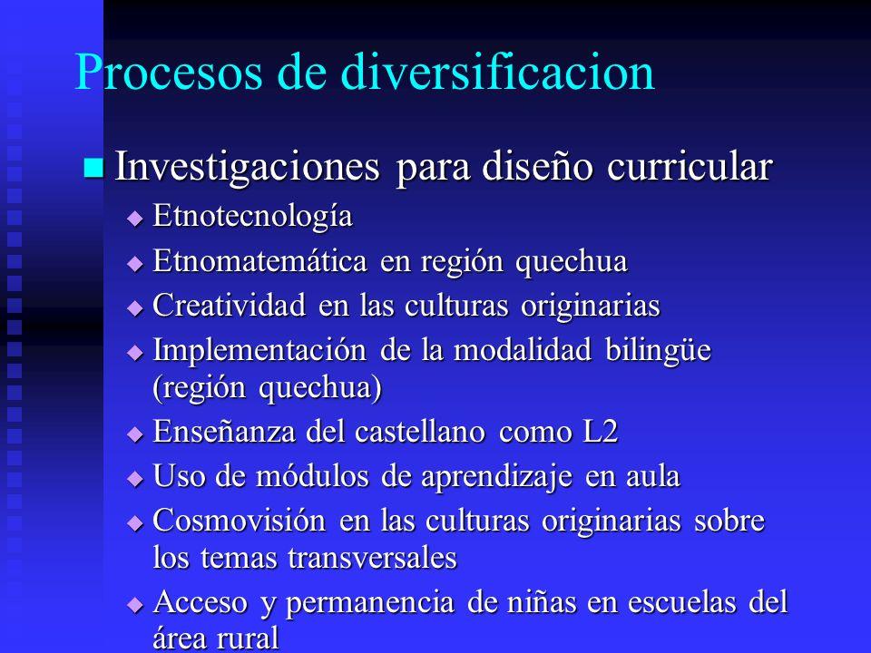 Procesos de diversificacion Investigaciones para diseño curricular Investigaciones para diseño curricular Etnotecnología Etnotecnología Etnomatemática