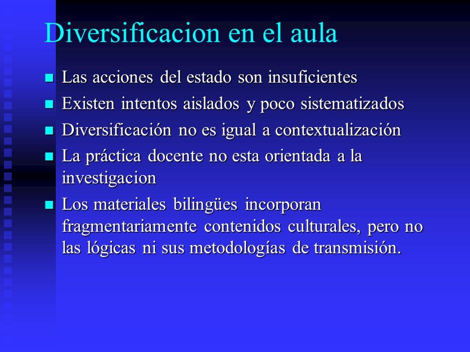 Diversificacion en el aula Las acciones del estado son insuficientes Las acciones del estado son insuficientes Existen intentos aislados y poco sistem
