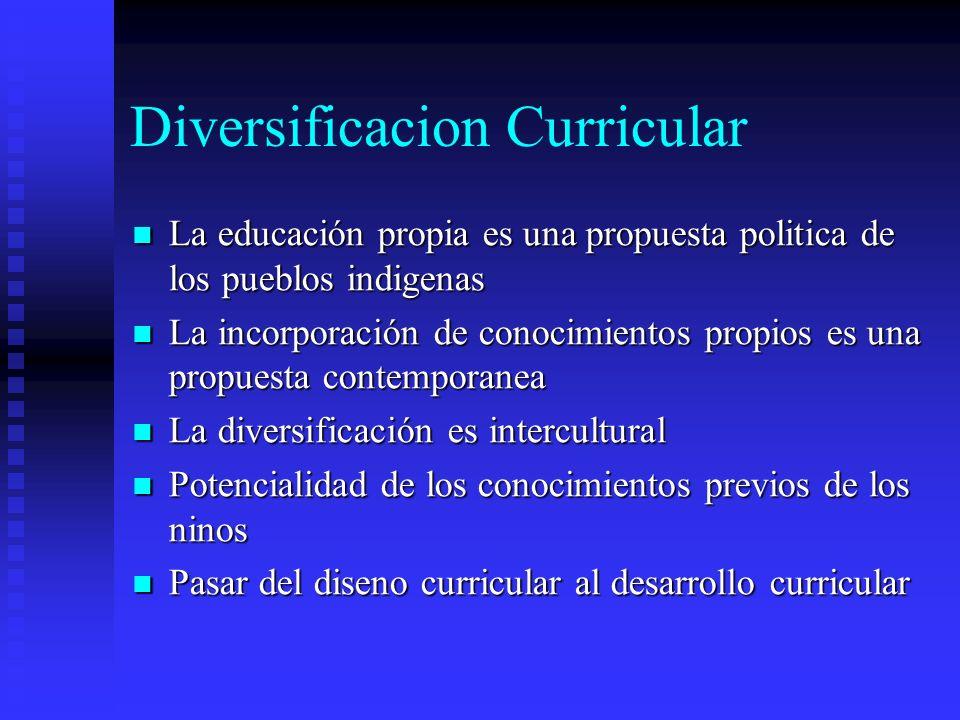 Diversificacion Curricular La educación propia es una propuesta politica de los pueblos indigenas La educación propia es una propuesta politica de los